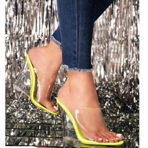 Clear Peep Toe Lucite Wedges in Lime